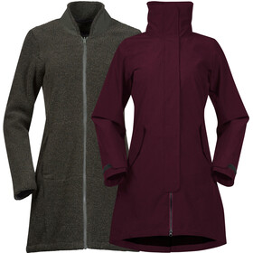 Bergans Oslo 3in1 Coat Dame Zinfan Red Melange/Solid Charcoal Melange